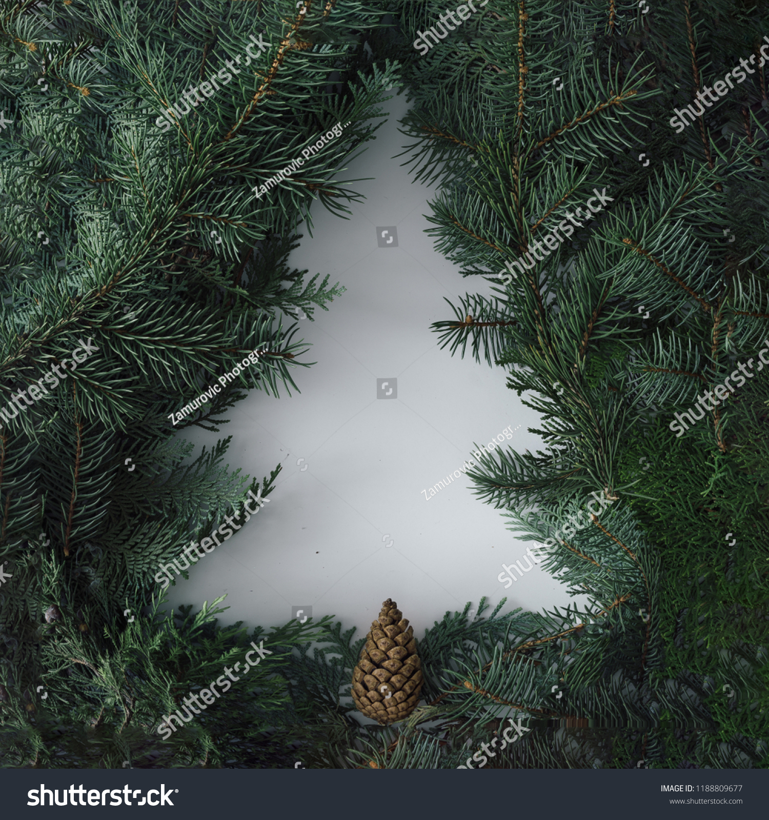 Negative space Christmas tree concept. Creative winter layout made with evergreen tree branches. Flat lay. #1188809677