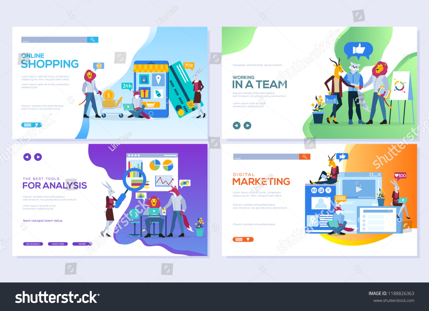 Templates Design Online Shopping Analytics Digital Image Vectorielle