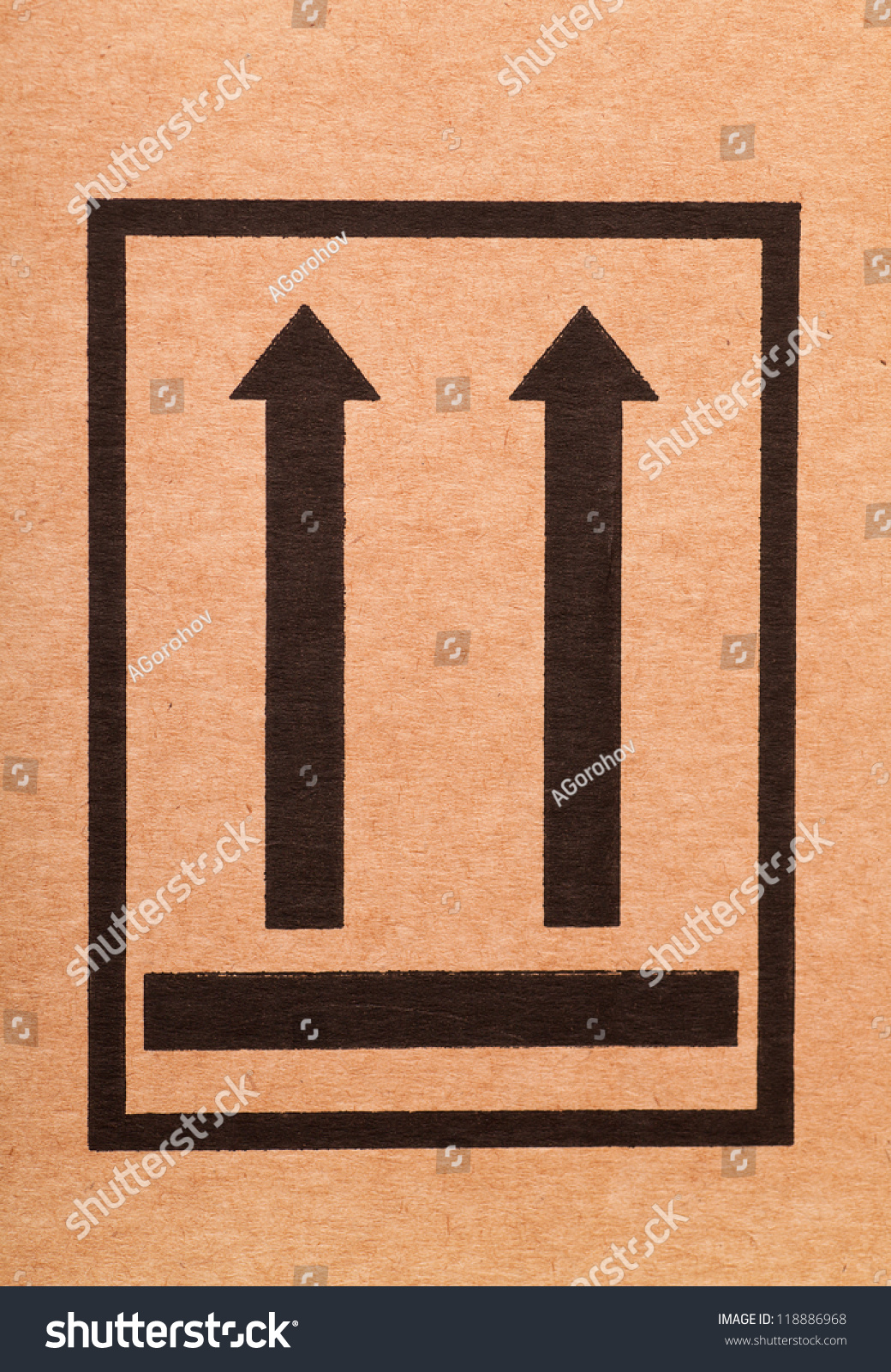 This Side Up Sign On Cardboard Stock Photo 118886968