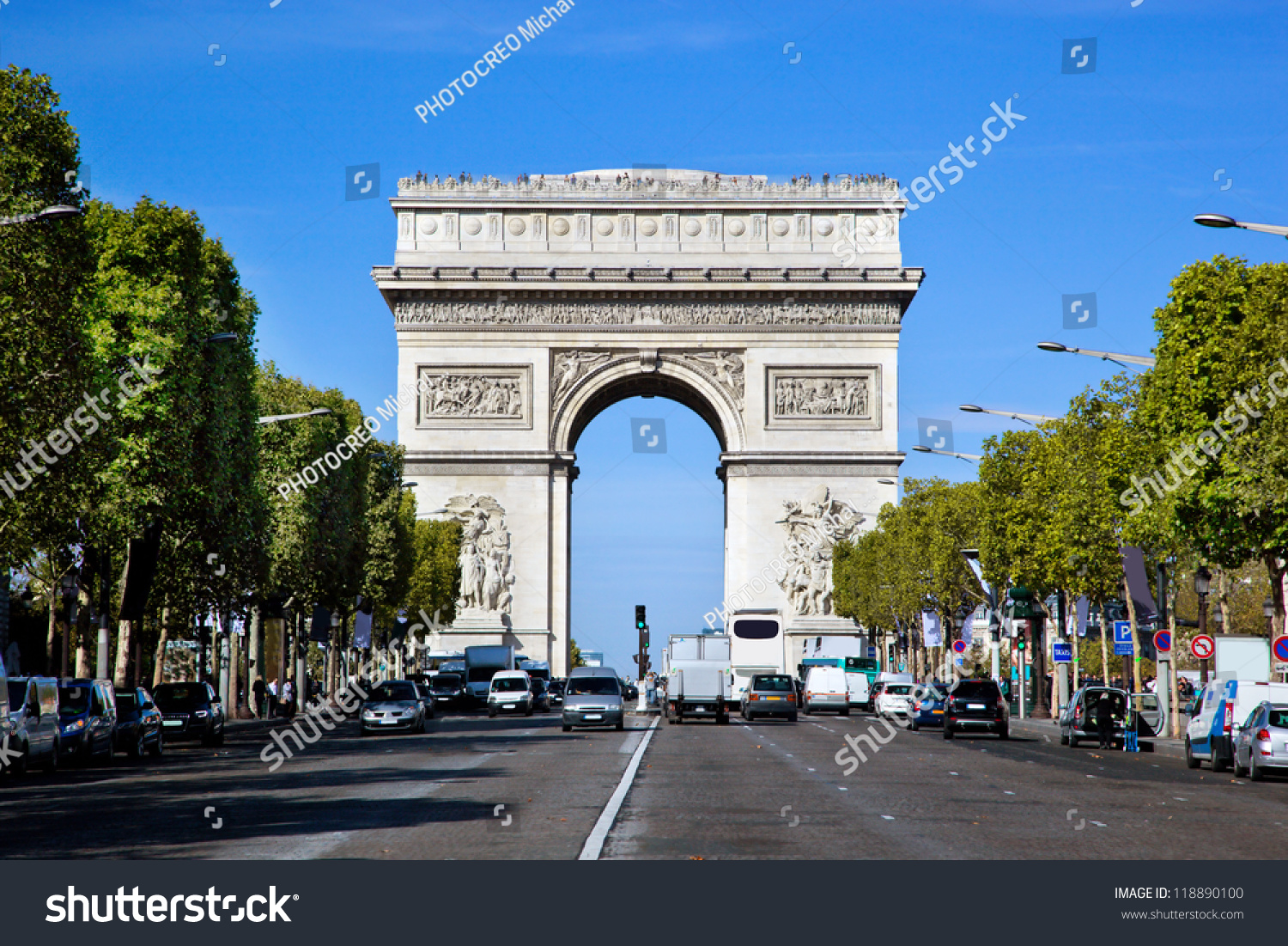 arc de triomphe paris france view from avenue des champs elysees stock photo 118890100. Black Bedroom Furniture Sets. Home Design Ideas