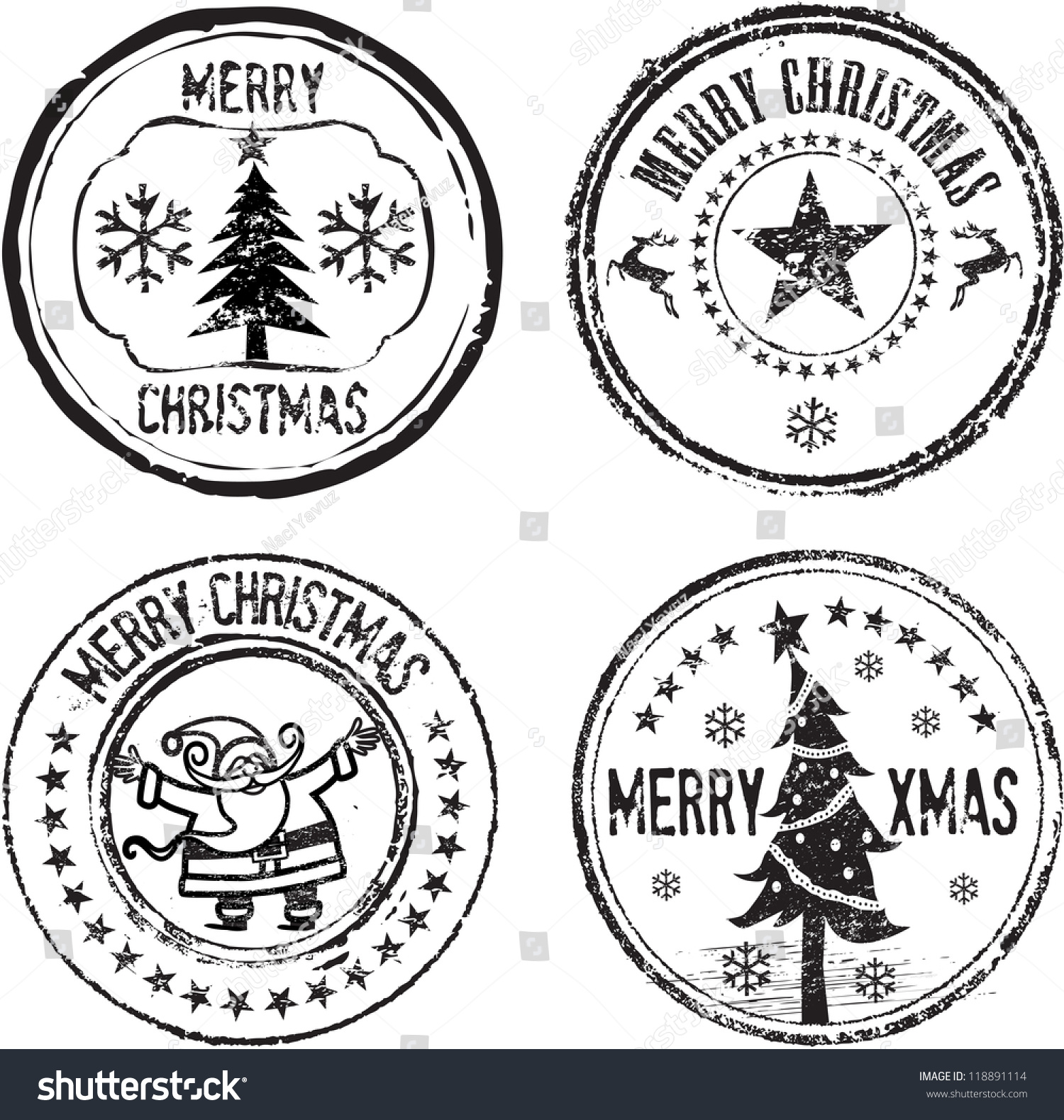 Merry Christmas Classic Stamp Set Stock Vector 118891114 ...