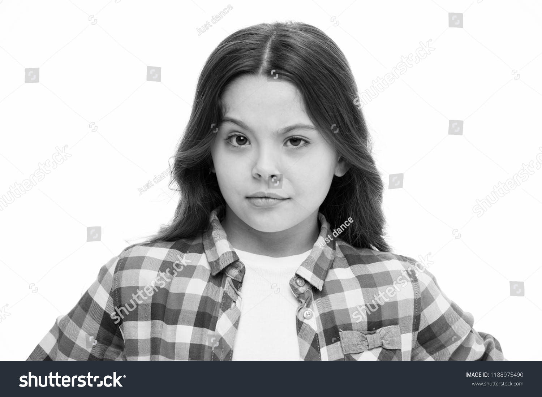 Little Girl Raise Eyebrow Isolated On Stock Photo Edit Now