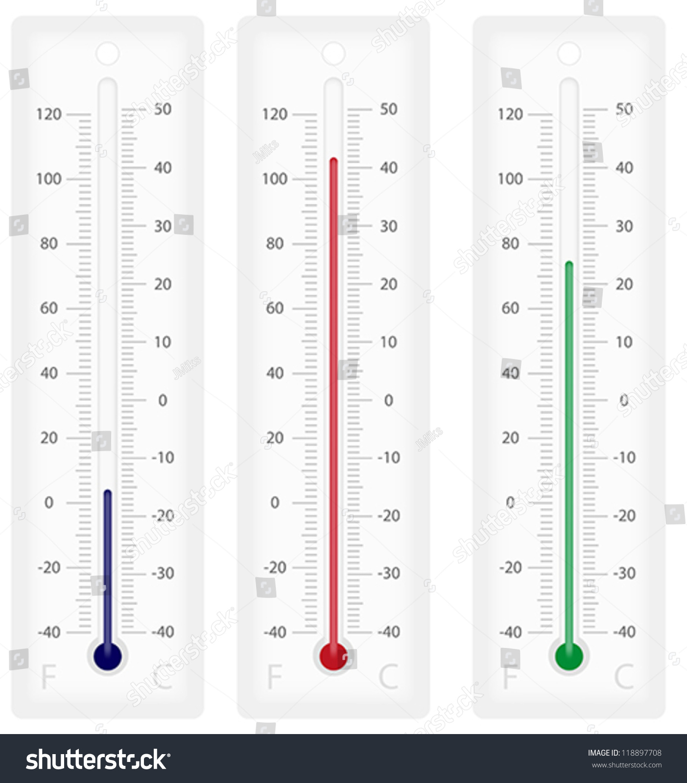 illustration thermometers celsius fahrenheit scales isolated stock