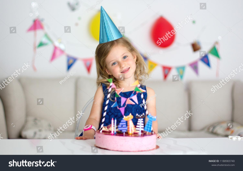 Superb Happy Little Girl Birthday Cake Celebrate Stock Photo Edit Now Funny Birthday Cards Online Elaedamsfinfo