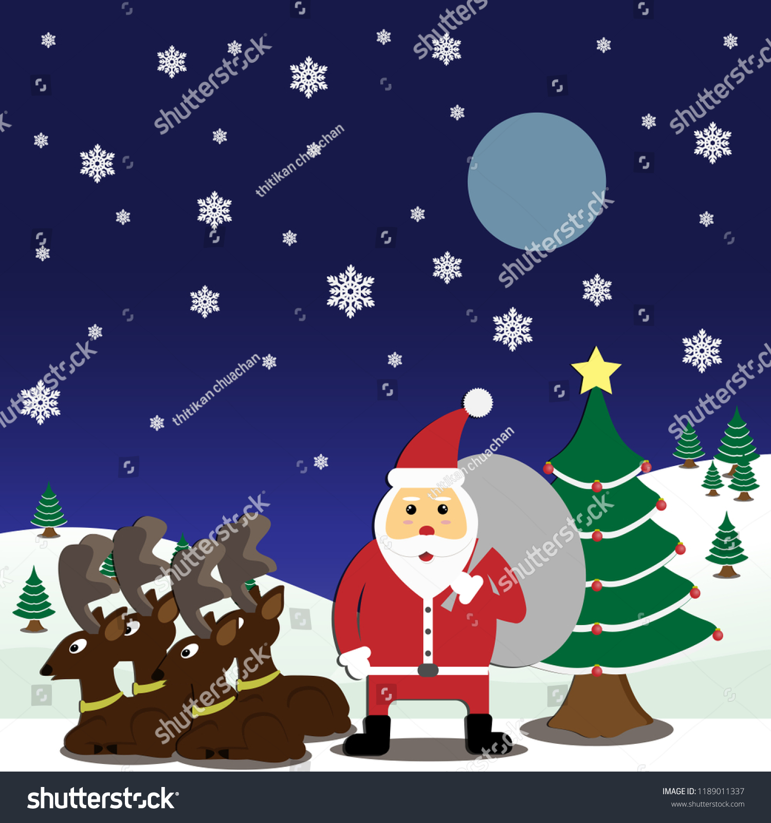 Santa Claus Reindeer Snow Landscape Early Stock Vector (Royalty Free ...