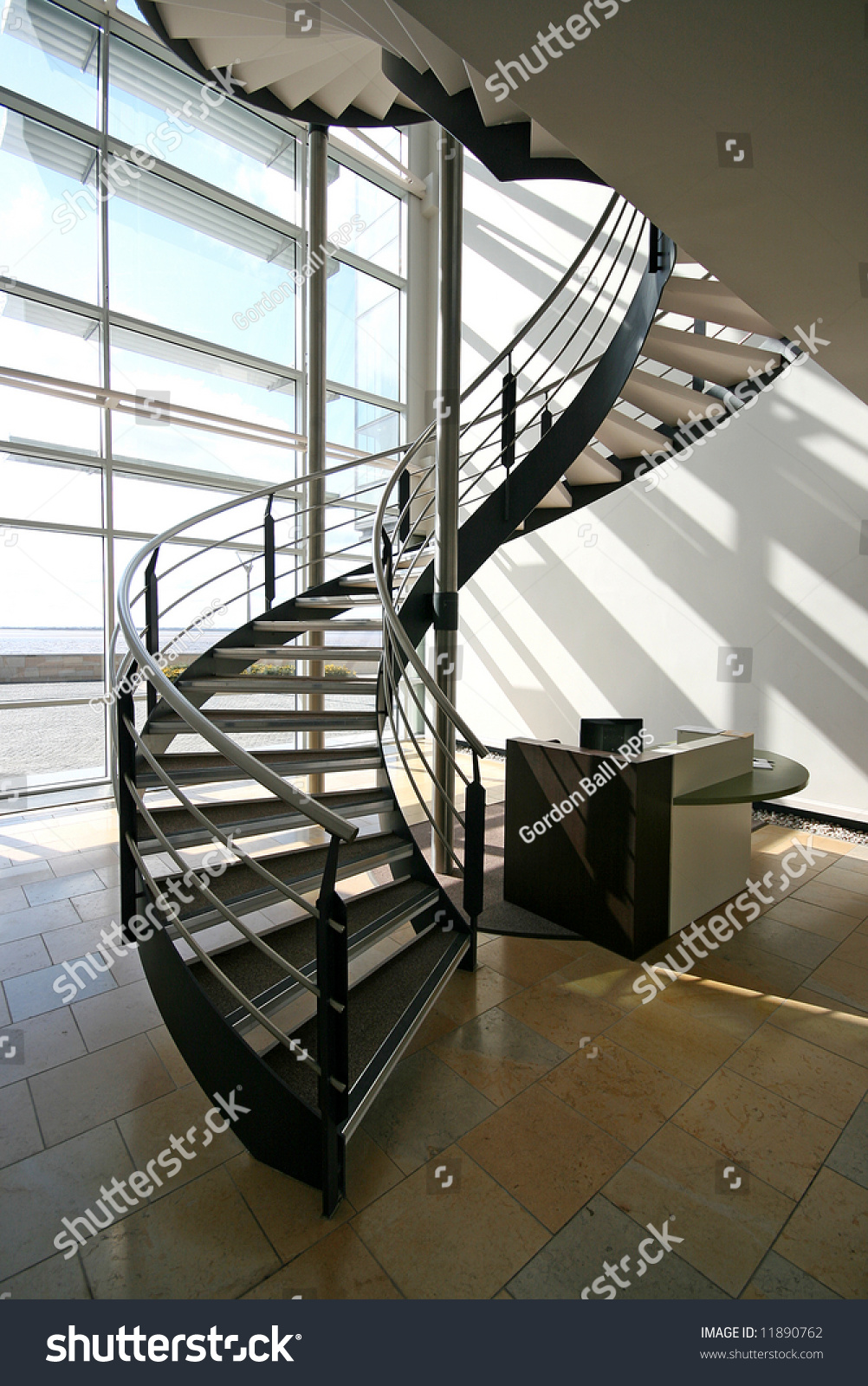 Metal spiral staircase modern building stock photo for Aluminum spiral staircase prices