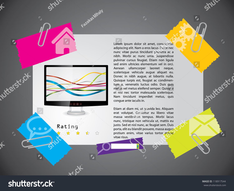 website template design with product description and rating stock vector illustration 118917544. Black Bedroom Furniture Sets. Home Design Ideas