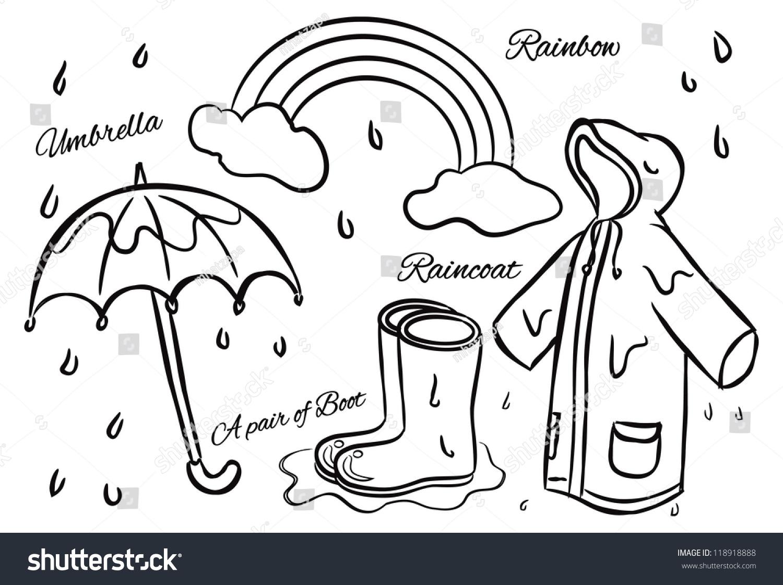 Rainy season doodle stock vector royalty free 118918888