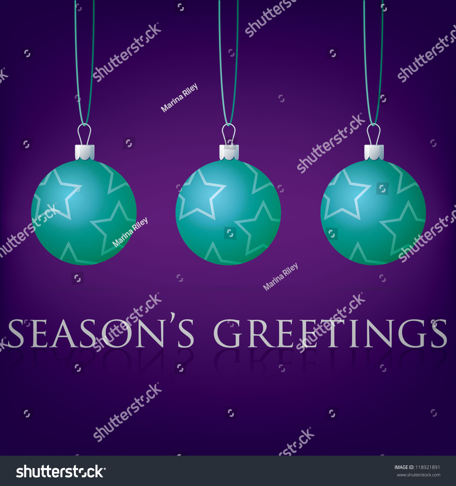 Bright Purple Seasons Greetings Bauble Card Stock Vector Royalty