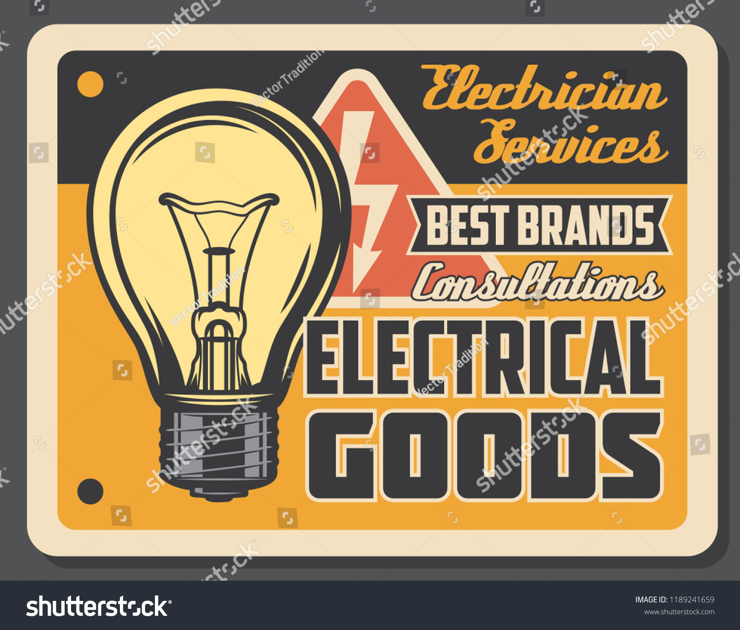 Electrician Services Electrical Goods Retro Poster Stock Vector Wiring A Light Bulb And Electricity Sign Works