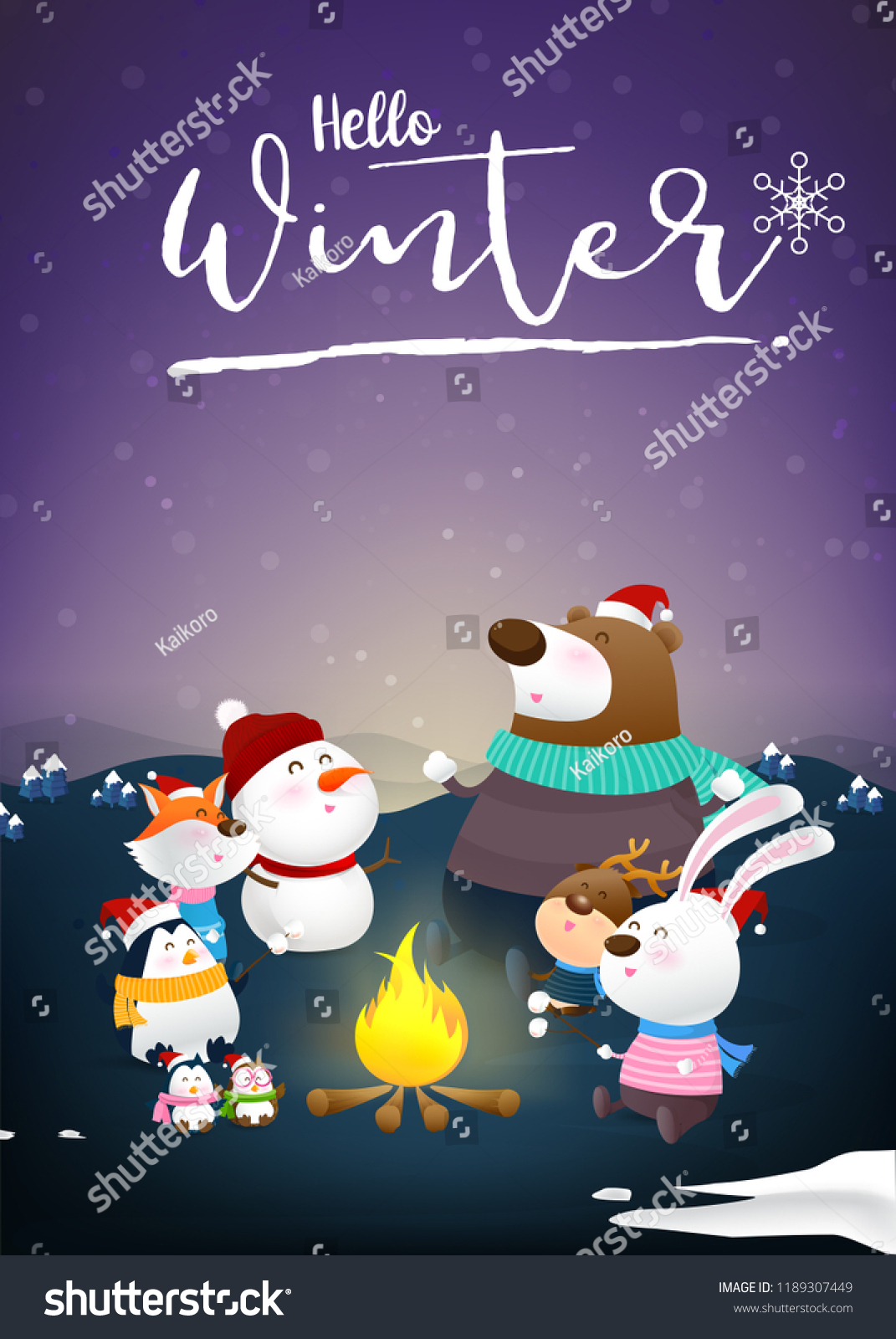 Hello winter calligraphy with animal friends cartoon fox rabbit own penguin beer and snow man sitting around fire with happiness with snow fall at night atmosphere vector illustration #1189307449