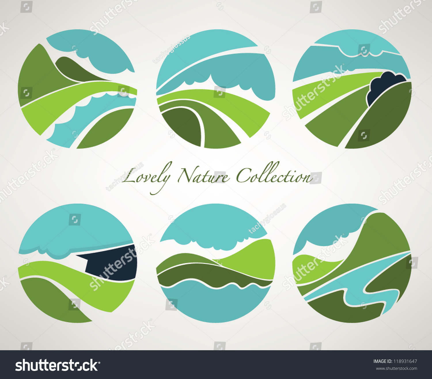 Vector collection landscape nature symbols old stock vector vector collection of landscape and nature symbols in old style biocorpaavc