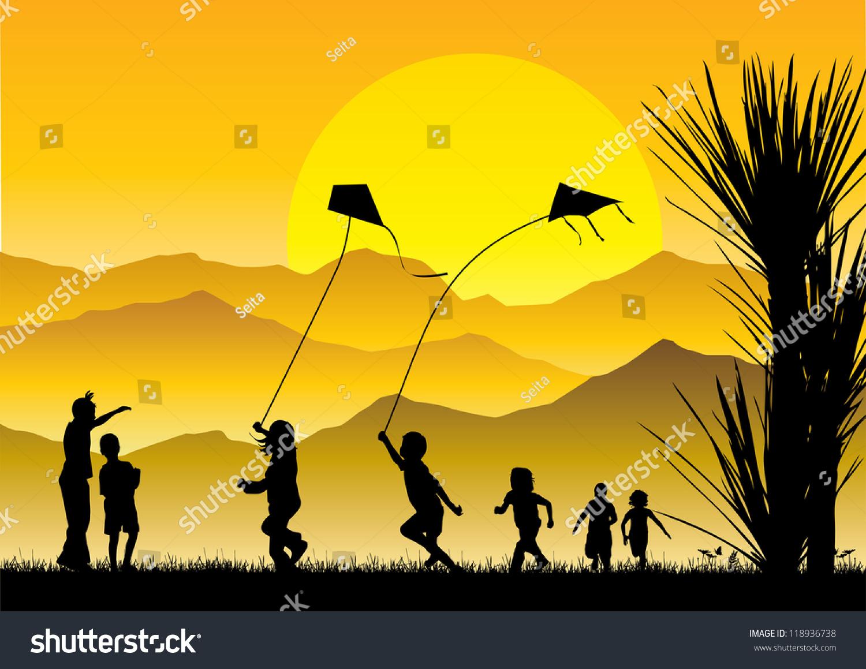 Children Flying Kites Silhouette Sunset Stock Vector