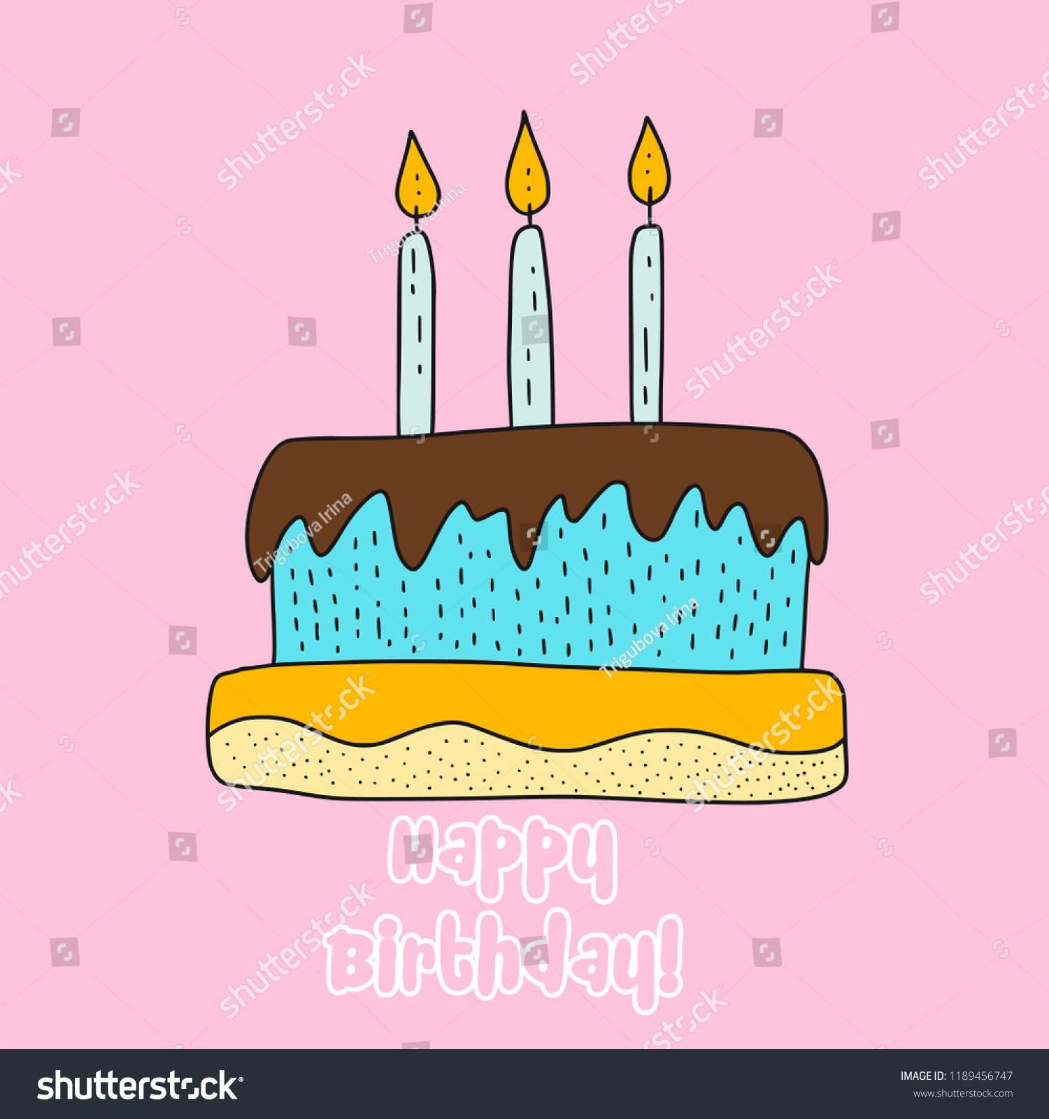 Vector Birthday Cake Cartoon Illustration Cute Stock Vector Royalty Free 1189456747