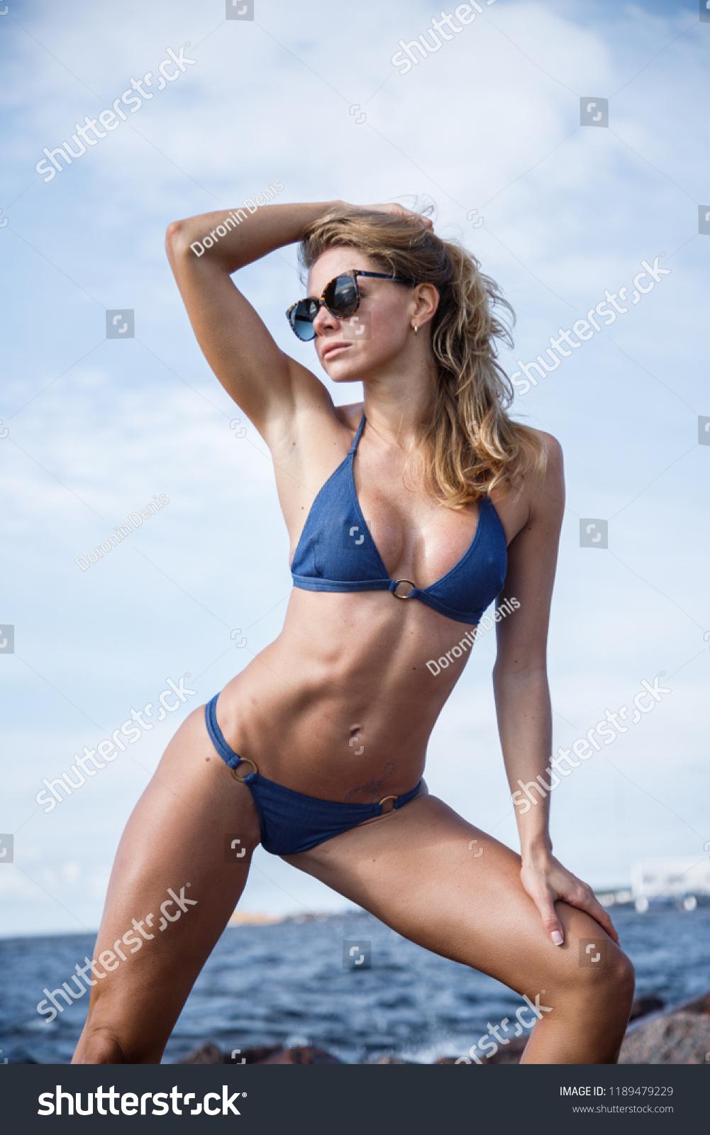 Beach Girl Sex beautiful girl sex fitness blonde posing stock photo (edit