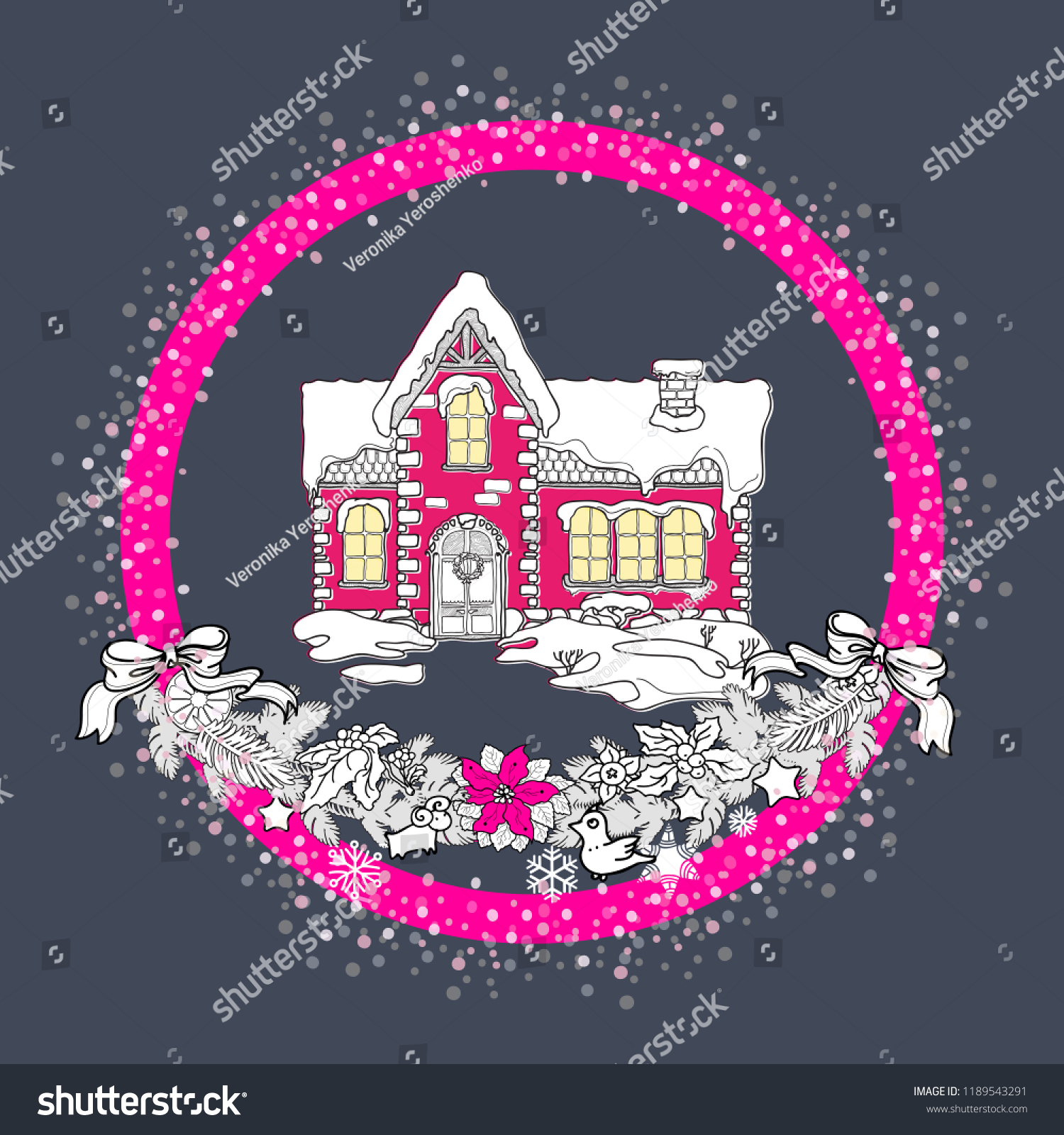 Small Pink House Tiled Roof Under Stock Vector Royalty Free 1189543291