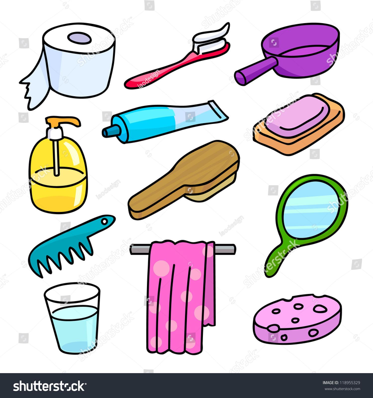Bathroom equipment icon set cartoon style with vector design 118955329 shutterstock - Image of bathroom ...
