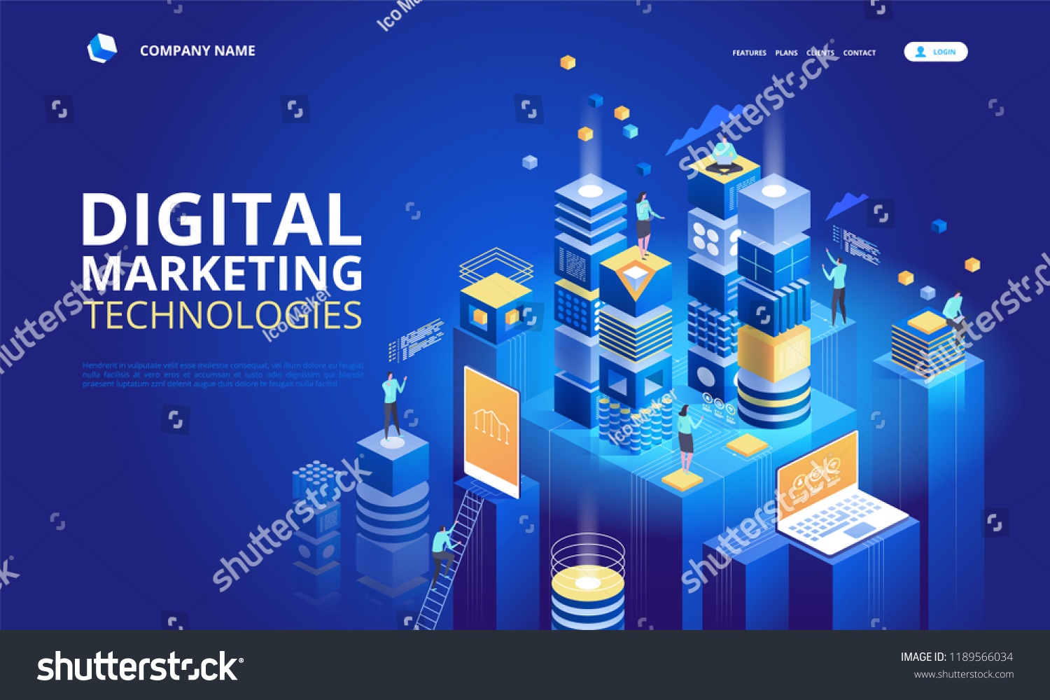 Isometric Team Specialists Working On Digital Stock Vector (Royalty