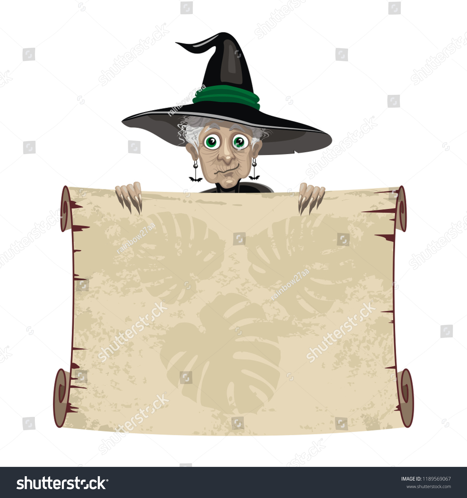 Cute Old Witch Black Hat Silhouette Stock Vector Royalty Free 1189569067