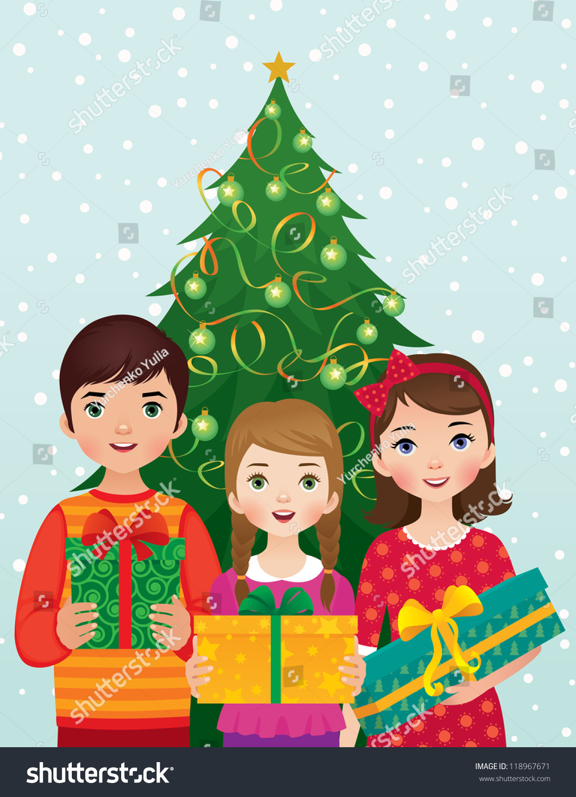 group of happy children with christmas gifts in hands on background of decorated holiday tree stock