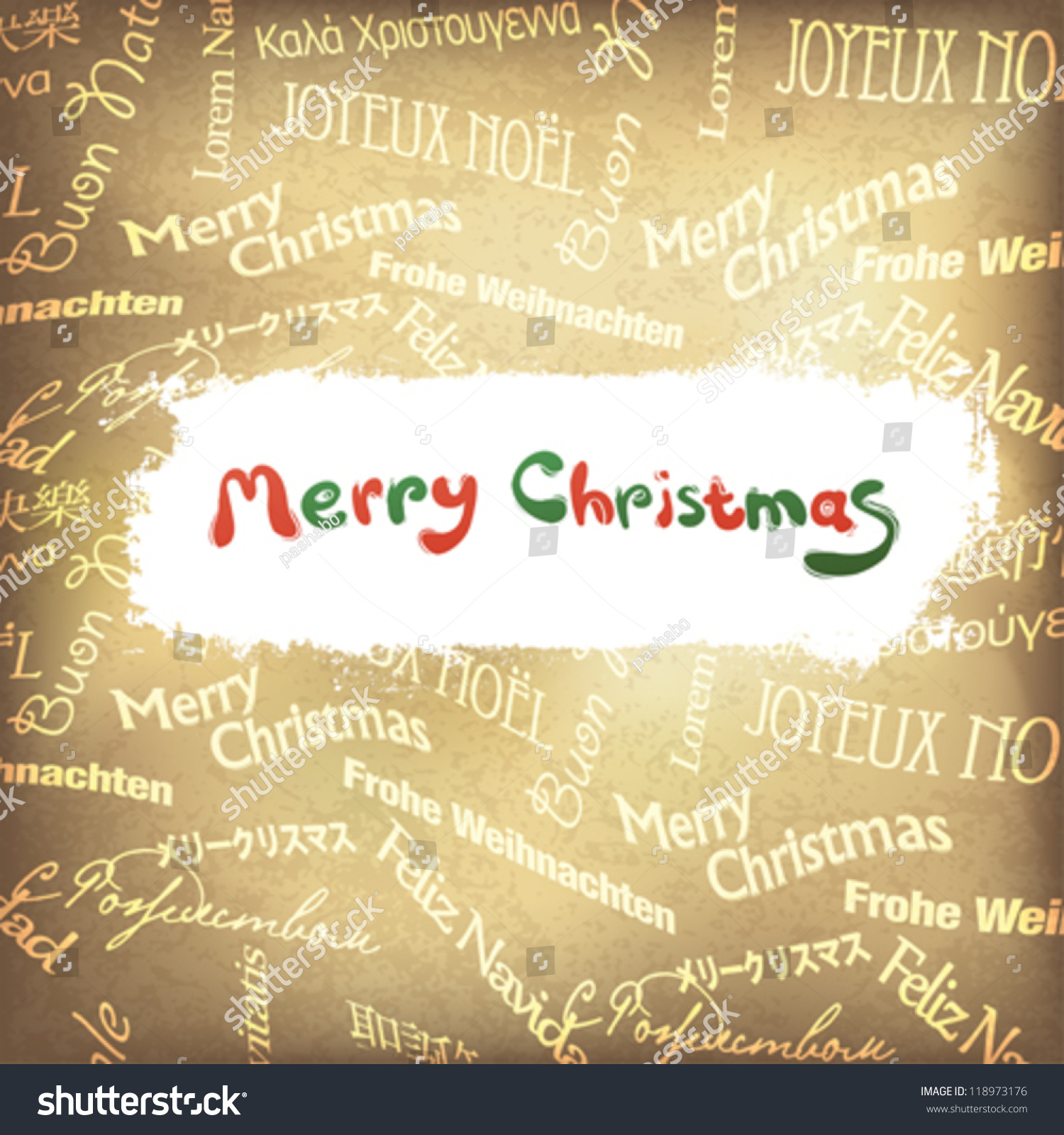 Retro Christmas Greetings Different Languages Vector Stock Vector