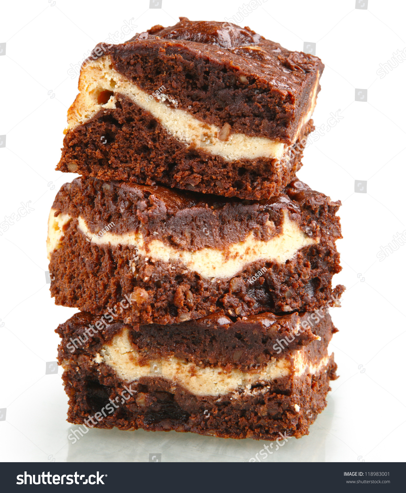 Pile Of Brownies With White And Dark Chocolate Isolated On ...