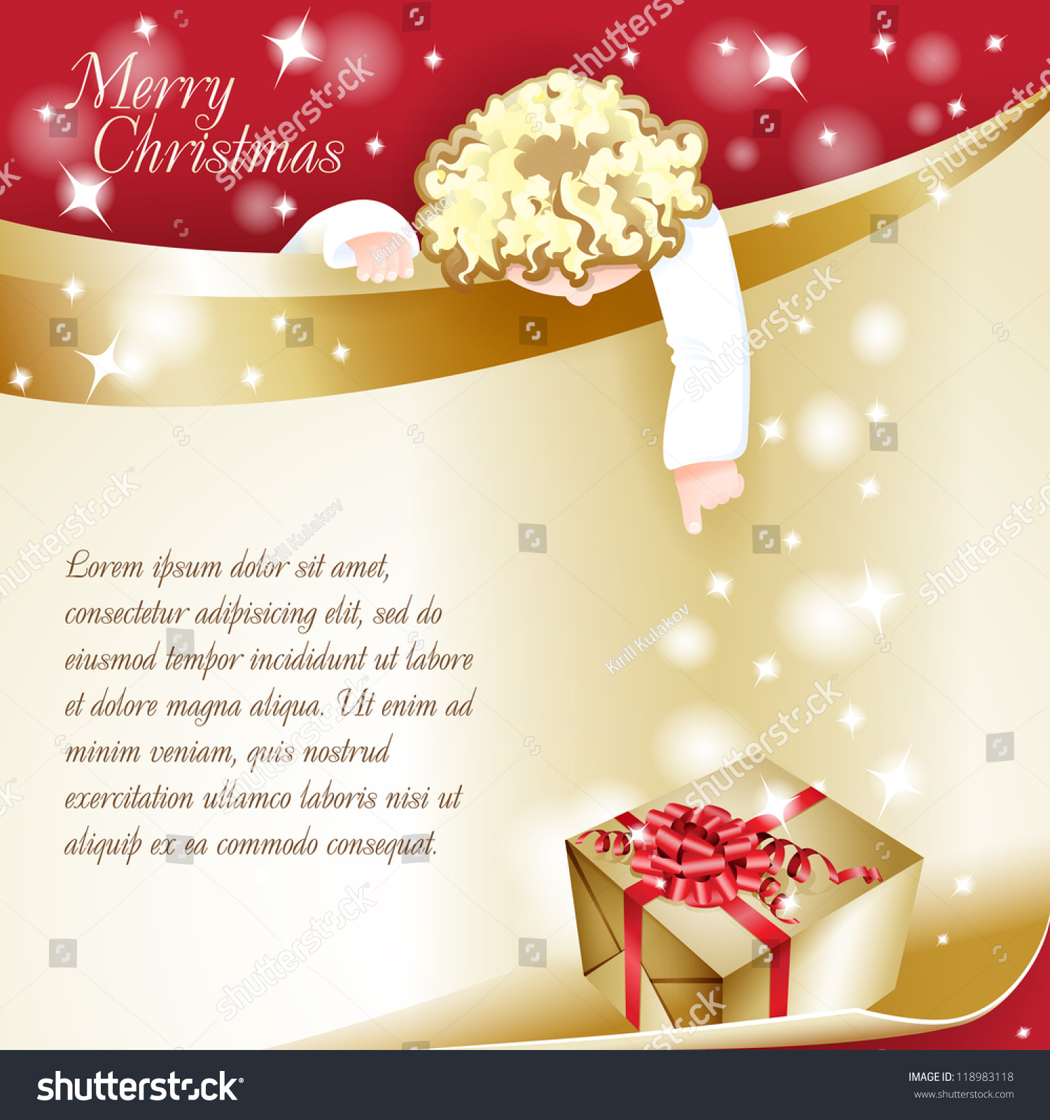 New Year Theme Christmas Card Angel Stock Vector (Royalty Free ...