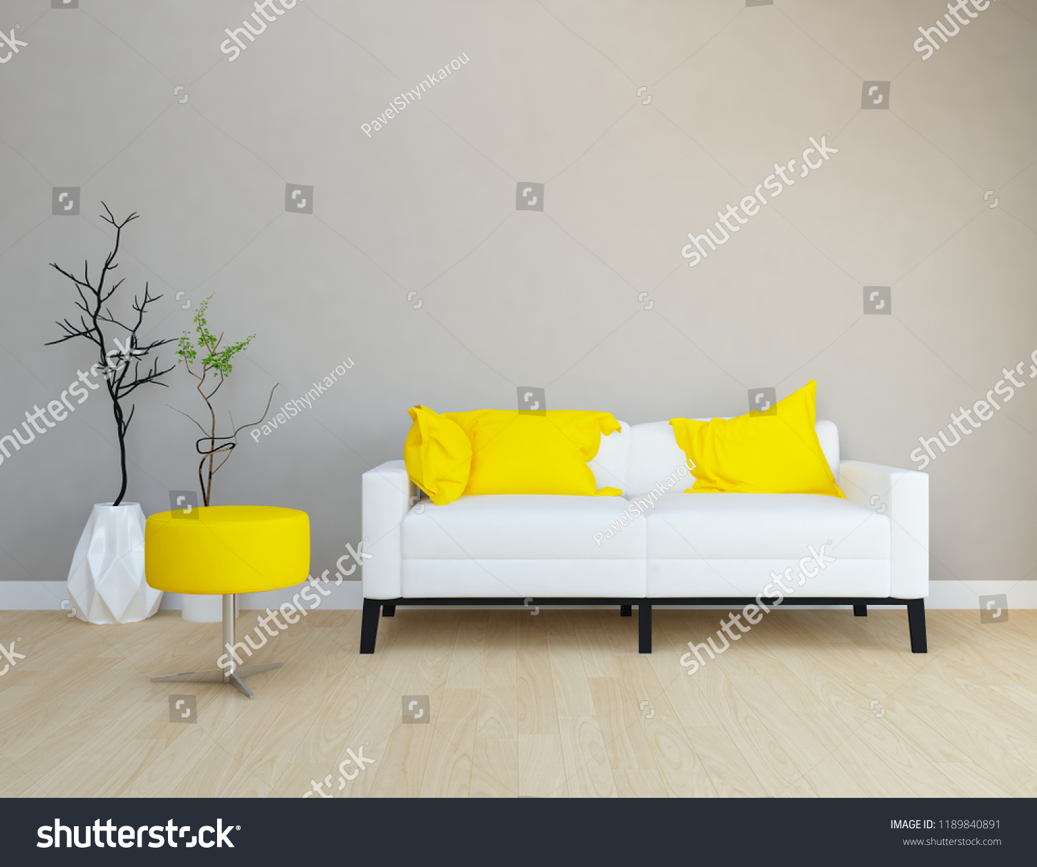 Idea of a grey scandinavian living room interior with sofa vases on the wooden floor