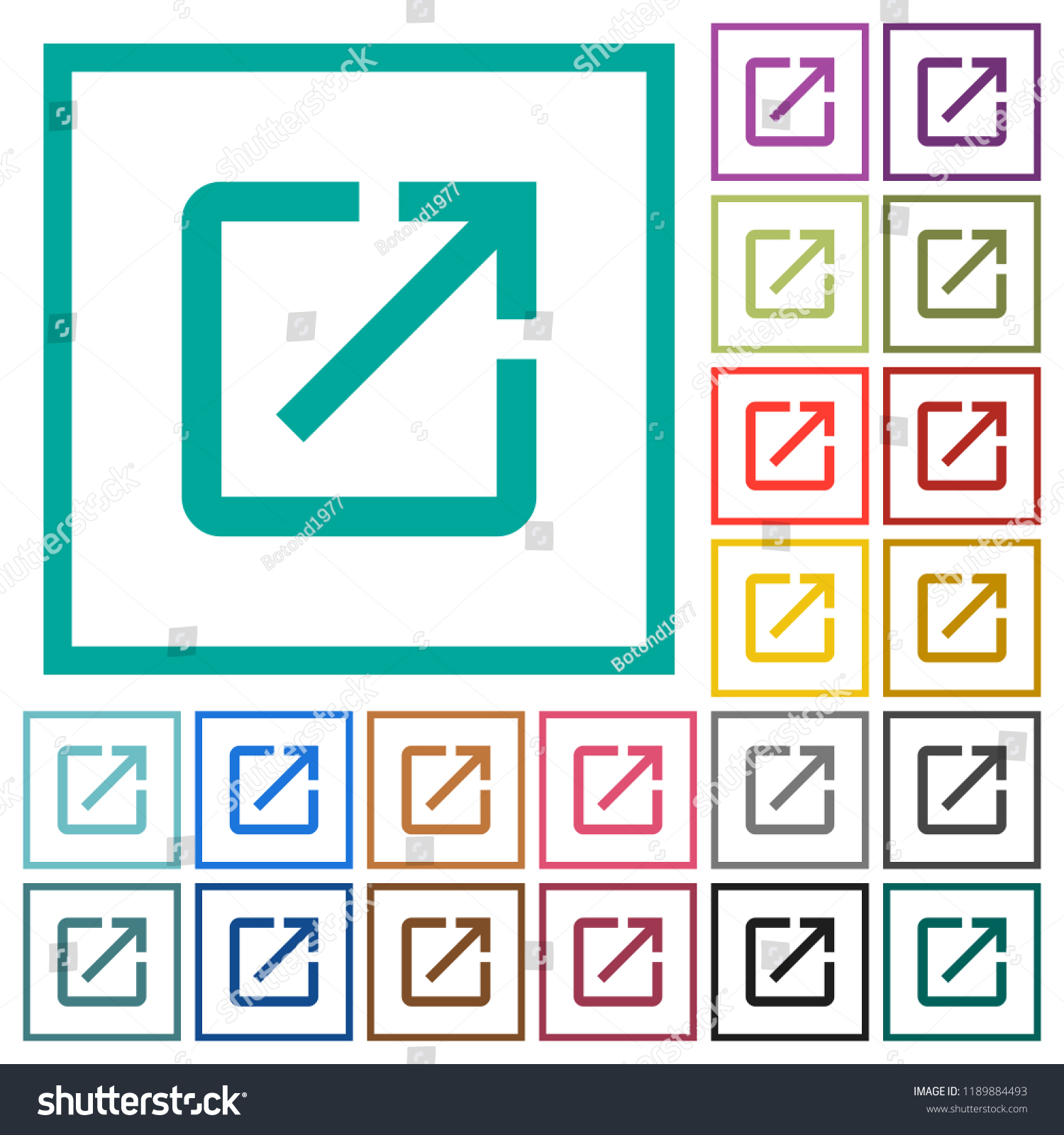 Launch Application Flat Color Icons Quadrant Stock Vector (Royalty ...