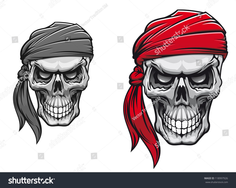 T shirt design vector - Danger Pirate Skull In Bandane For Tattoo Or T Shirt Design Vector Version Also