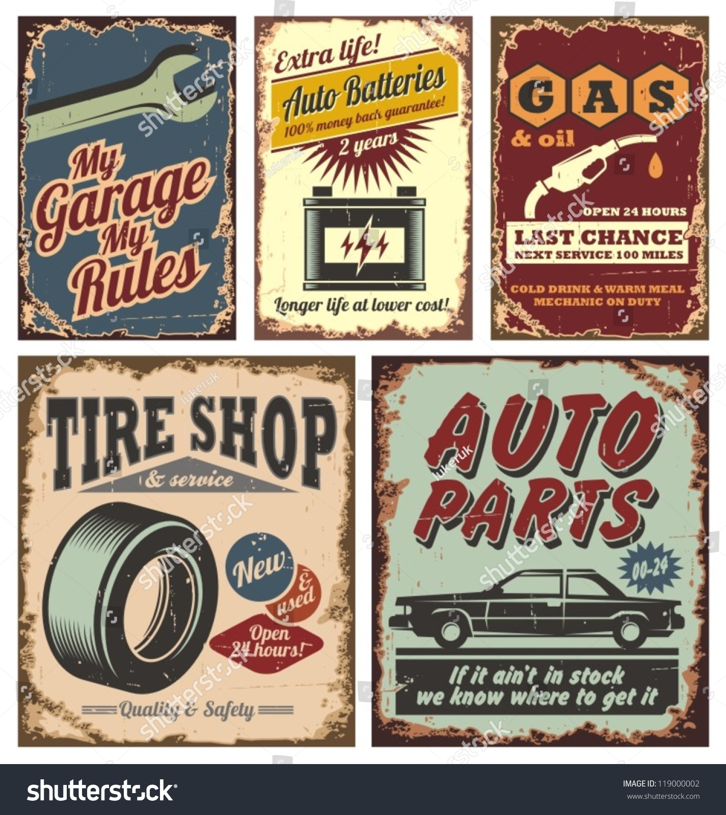 Vintage Car Service Metal Signs Posters Stock Vector 119000002 ...