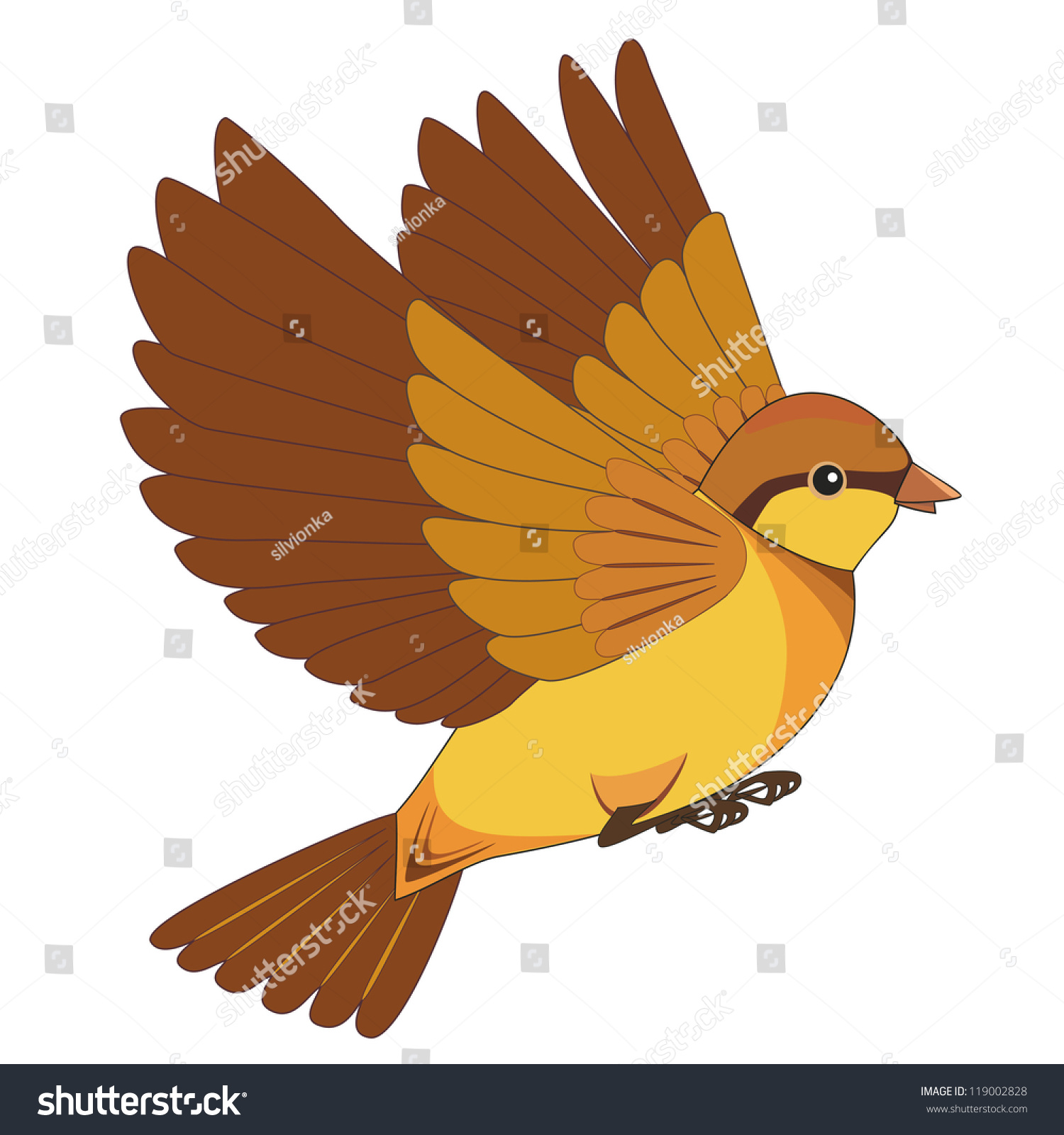 Stock Vector Flying Bird Cartoon Isolated On White Background Vector I...