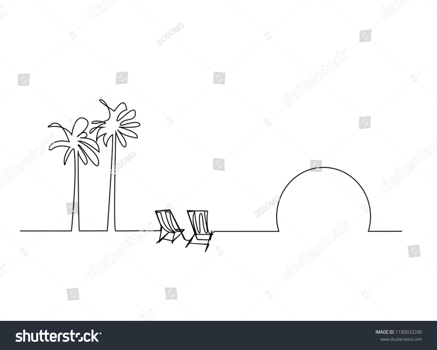 continuous line drawing of coconut tree and beach mattress tourism beach  sea vector illustration