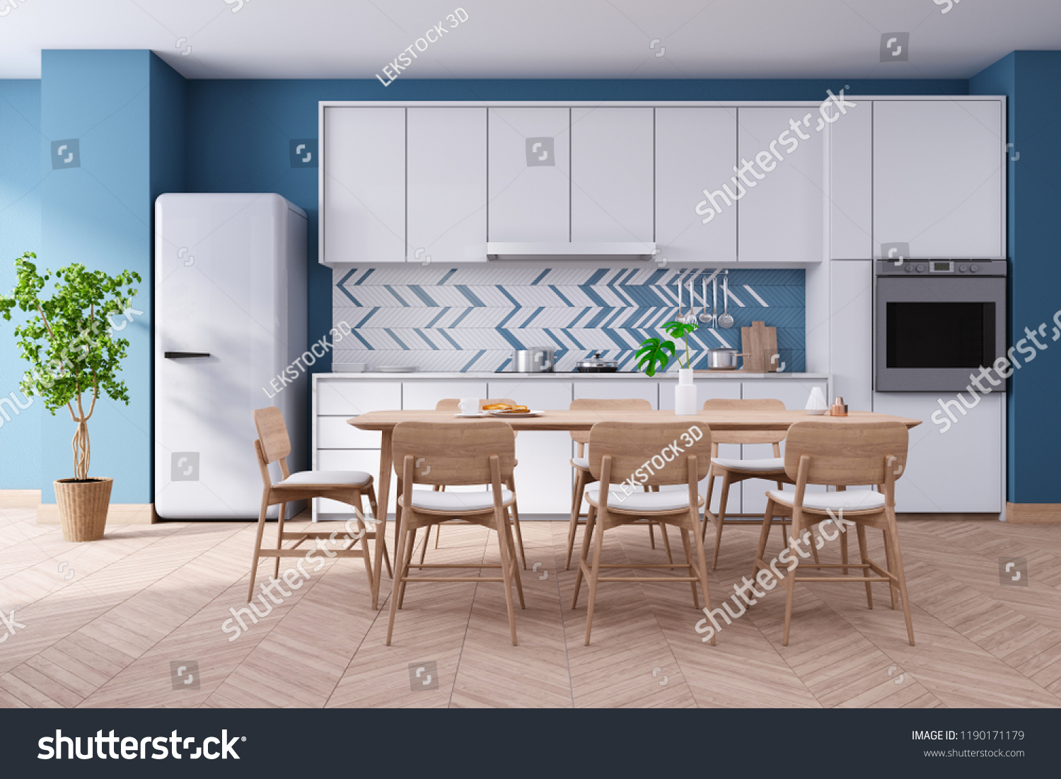 Luxurious Modern Blue Kitchen Room Interior Stock
