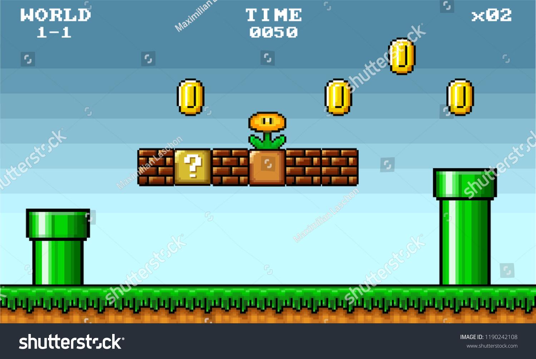 8 Bit Pixel Art Platformer Game Stock Vector (Royalty Free) 1190242108