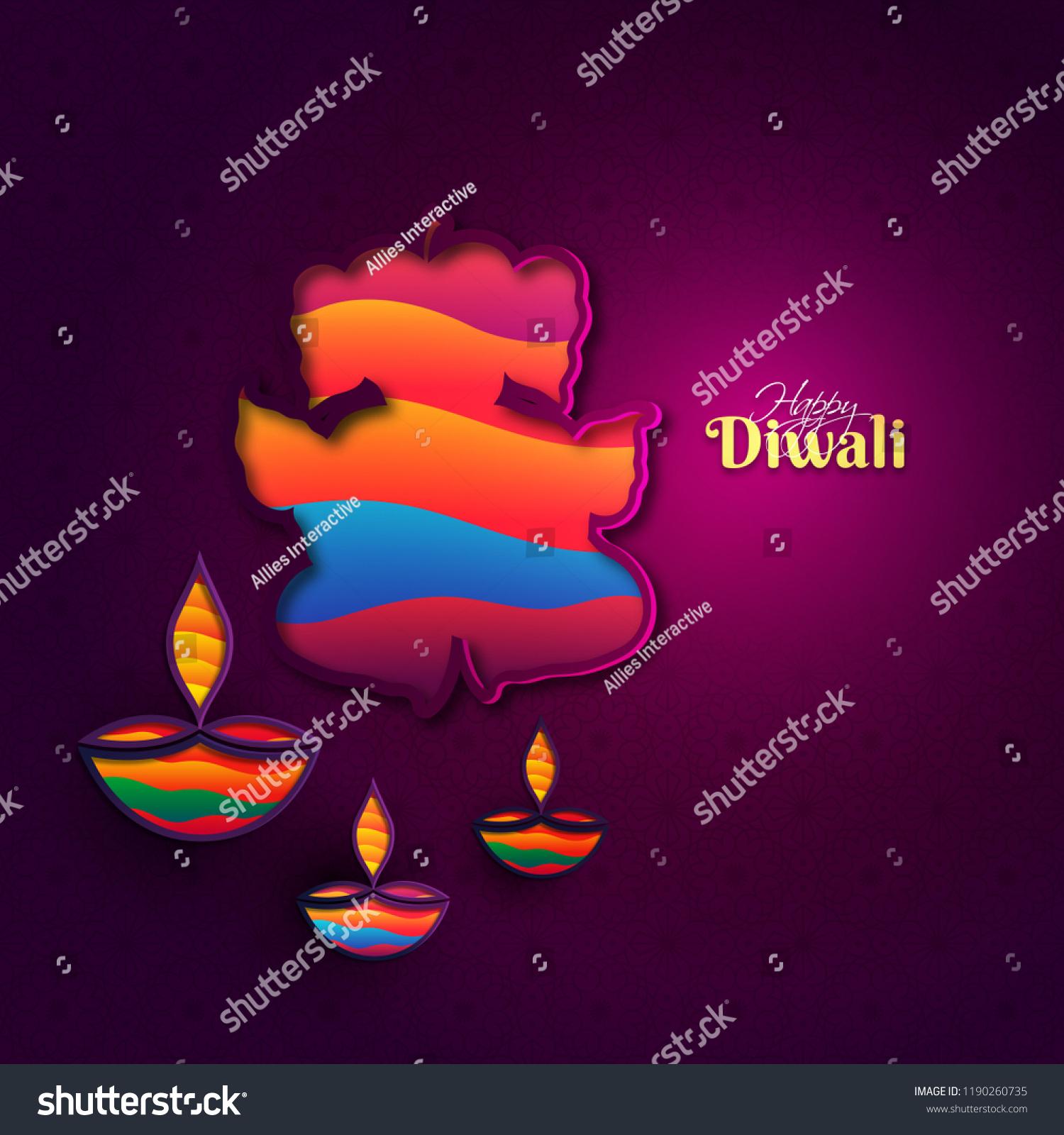 Happy Diwali Greeting Card Design Paper Stock Vector Royalty Free