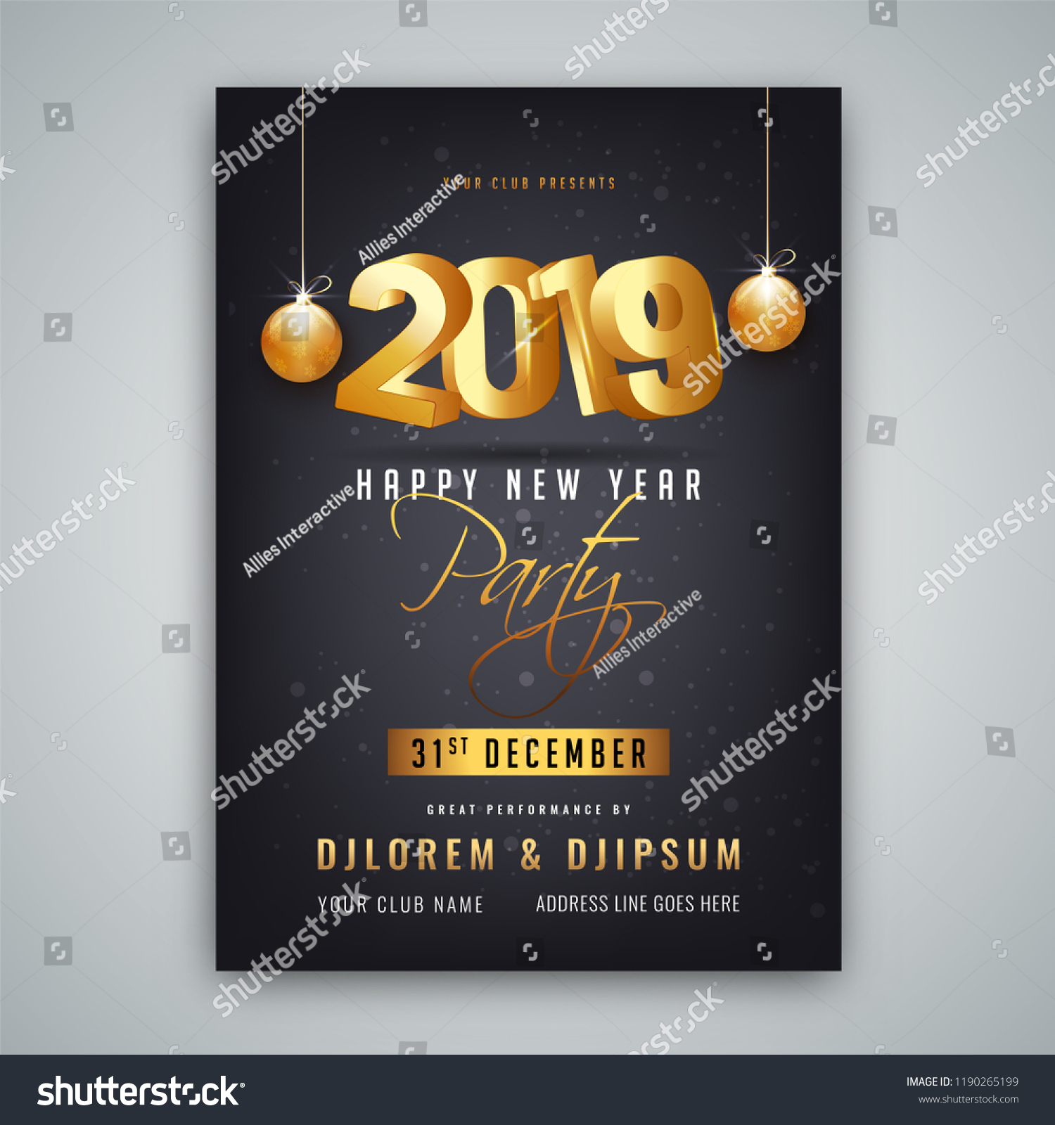 2019 happy new year party invitation card or template design with date and venue details on