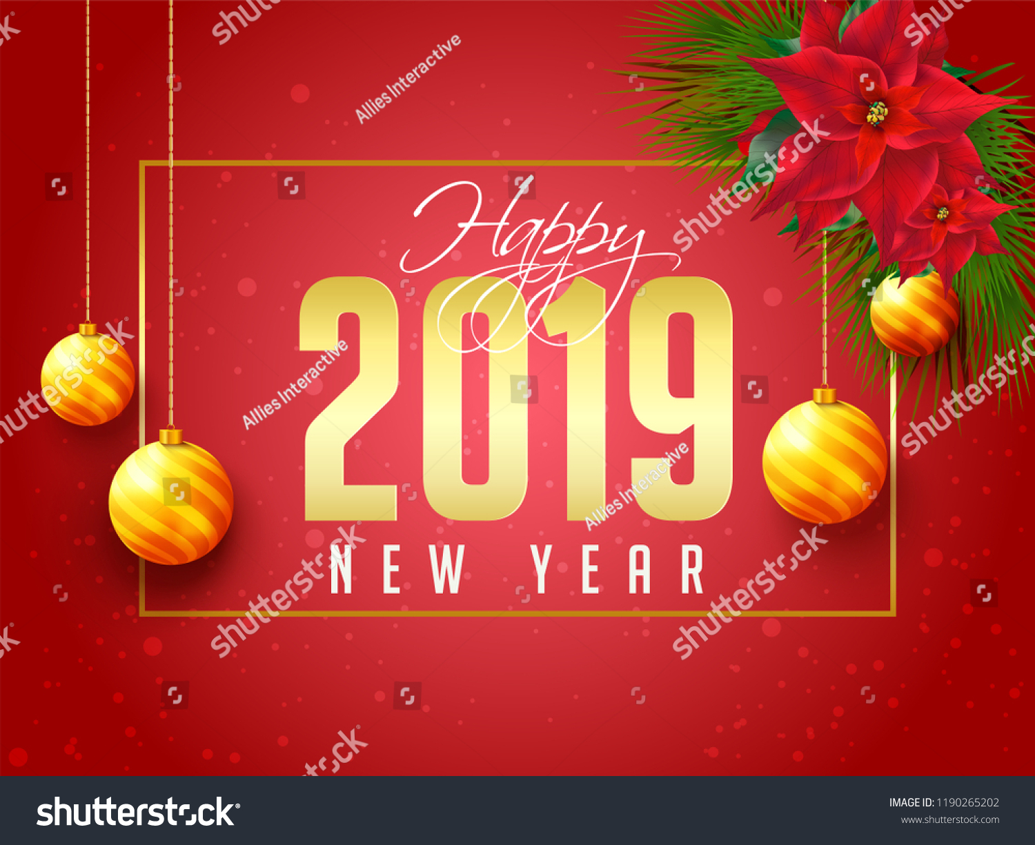 happy new year poster or template design with lettering of 2019 flowers and decorative bauble