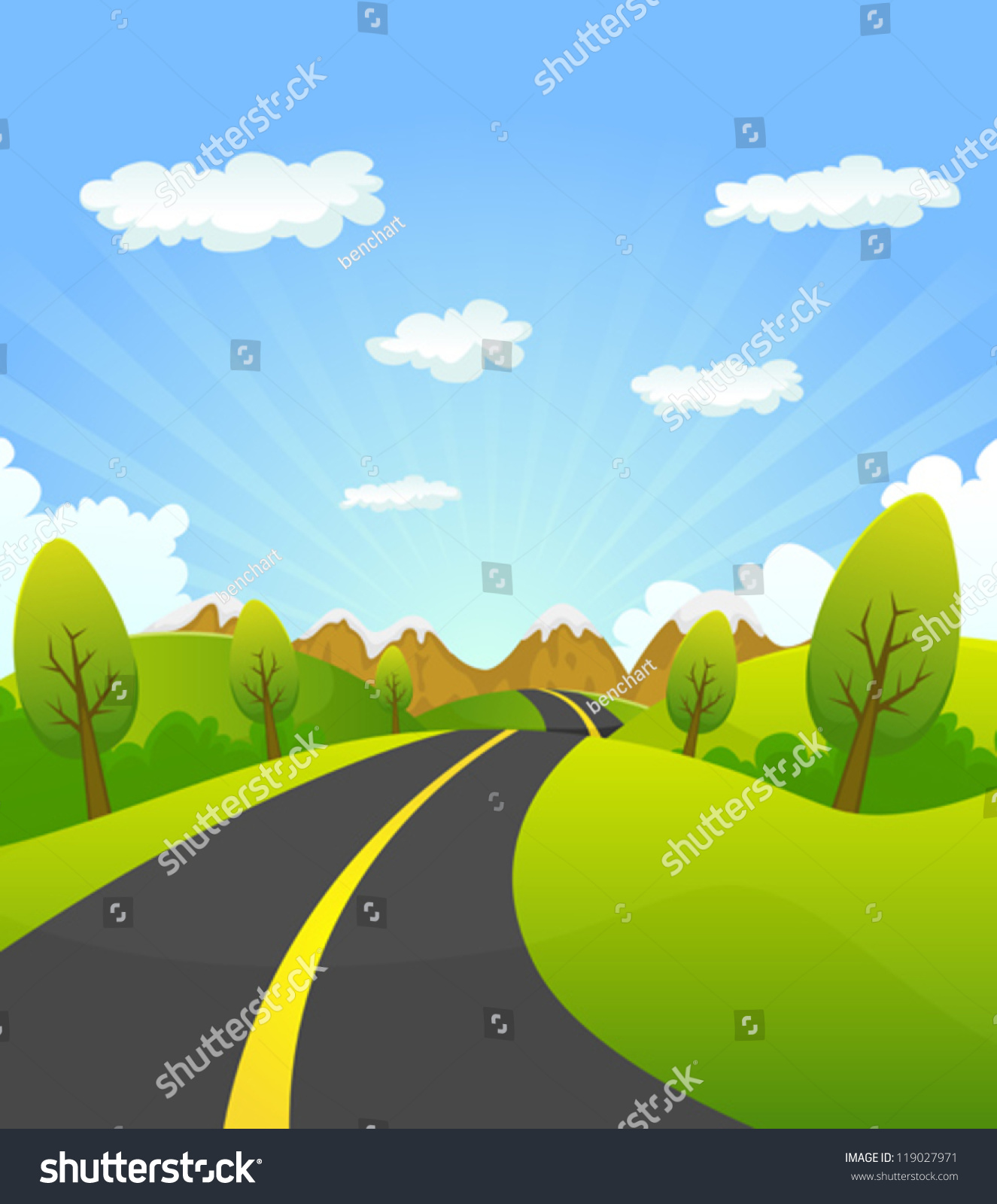 Cartoon Road Background Horizontal Spring or summer road to the ...