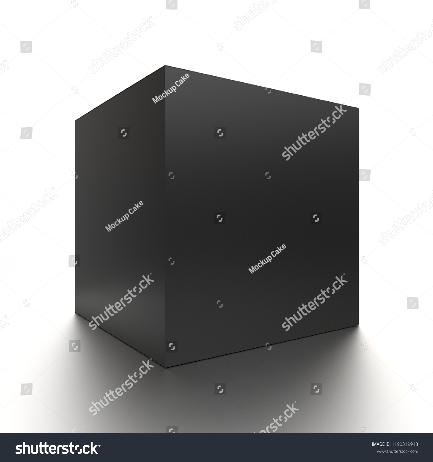 37021f5733062 Black cube blank box from front side angle. 3D illustration isolated on  white background.