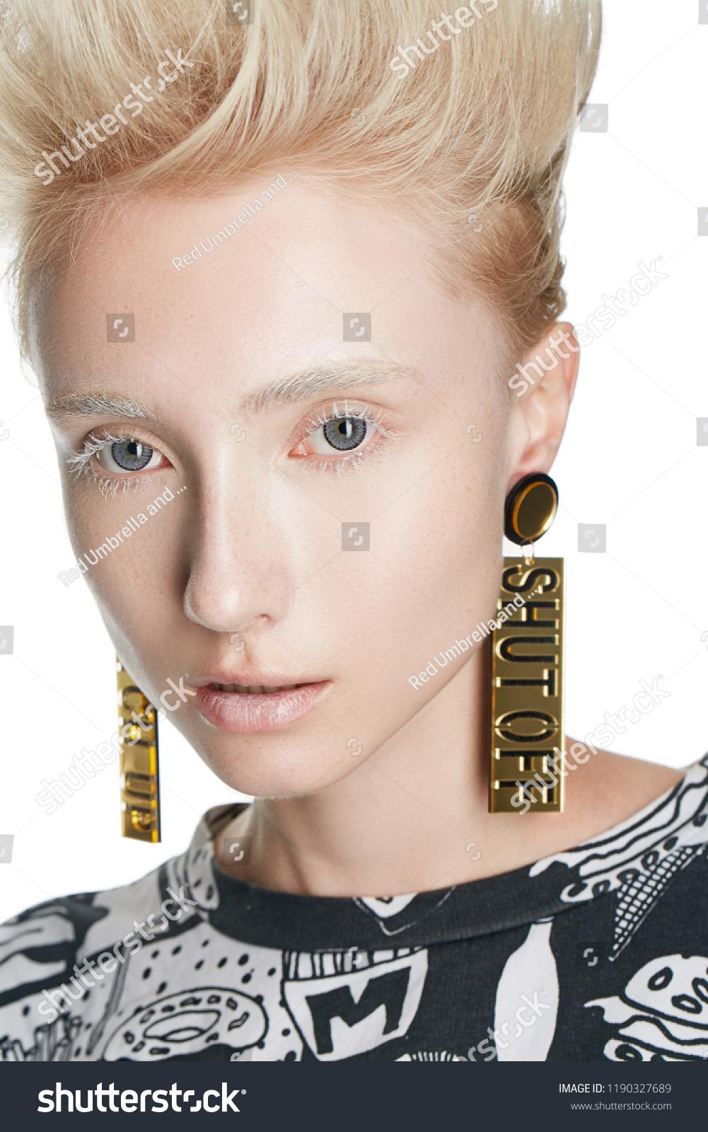 Close Portrait Blonde Caucasian Girl Mohawk Stock Photo Edit Now