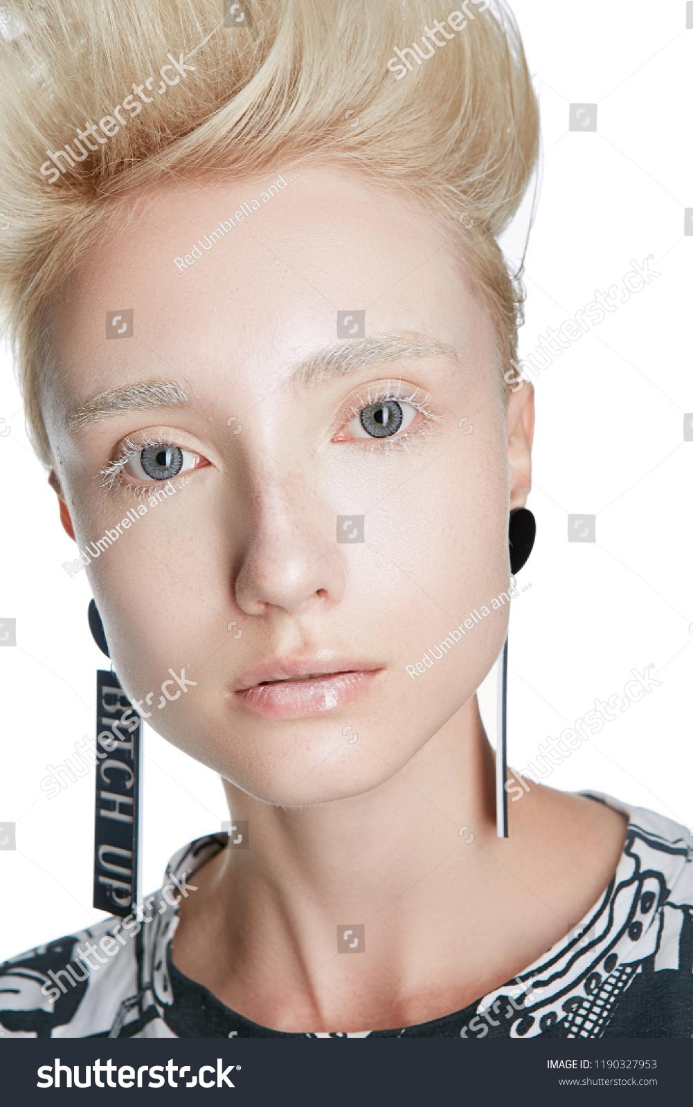 Close Portrait Blonde Caucasian Woman Mohawk Stock Photo Edit Now