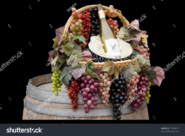 Basket Grapes Bucket Ice Bottle Wine Stock Photo Edit Now 11903413