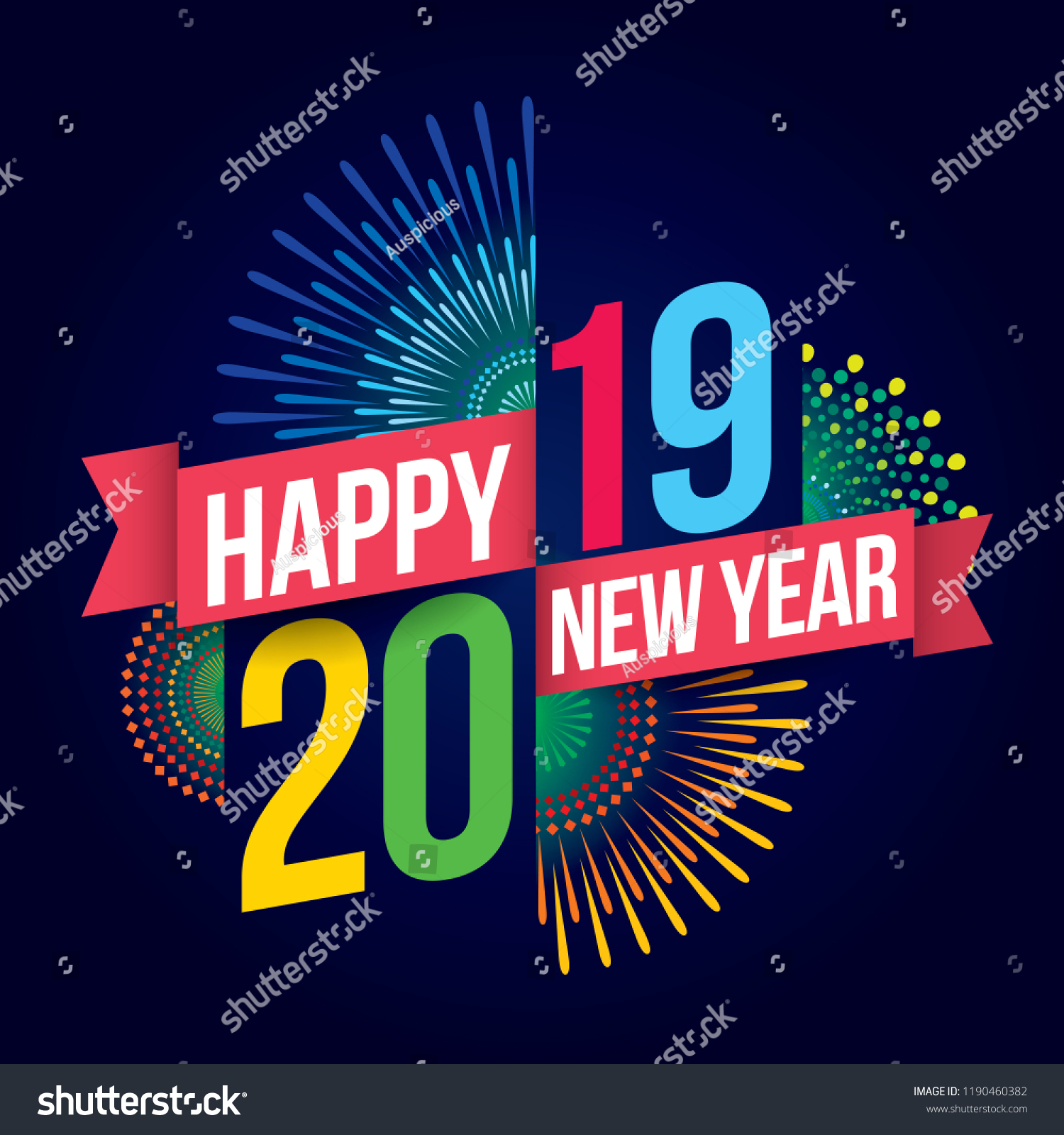 vector illustration of fireworks happy new year 2019 theme