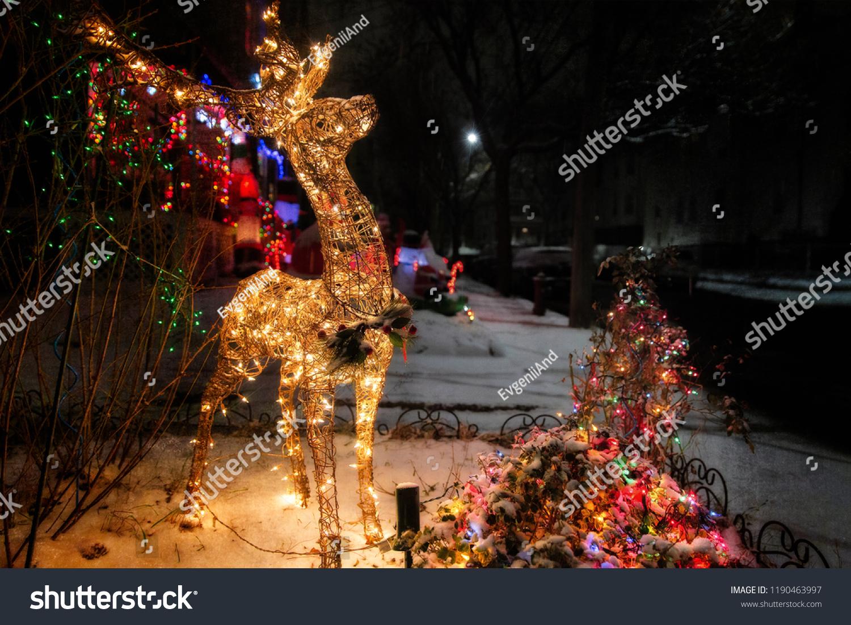 Shiny Christmas Deer Outside Christmas Decorations Stock Photo Edit Now 1190463997