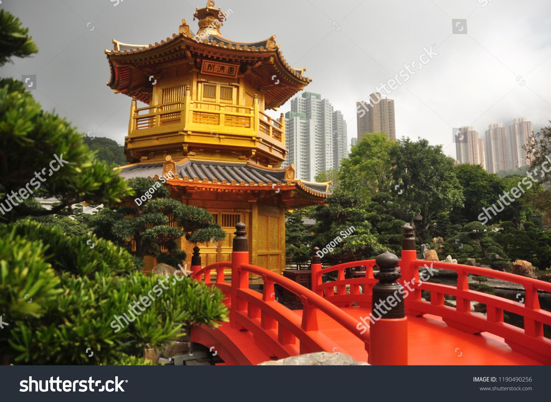 beautiful oriental garden city view golden stock photo (edit