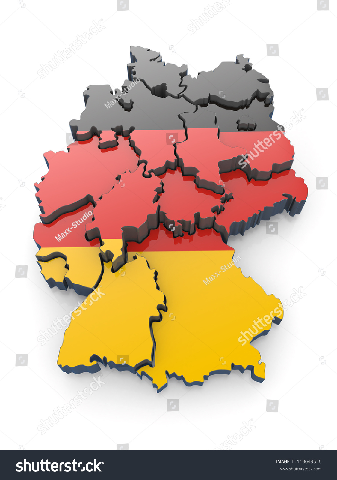 Map Of Germany In German Flag Colors. 3d Stock Photo ...