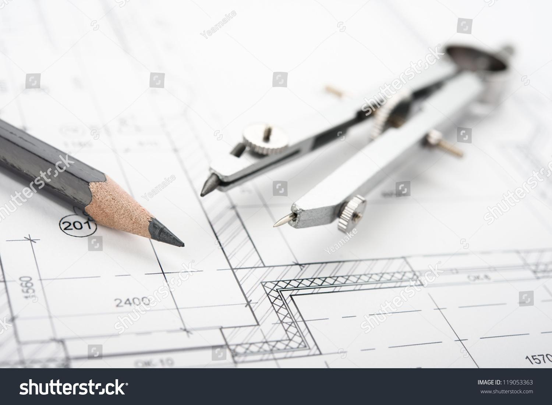 drafting tools blueprint pencil etc stock photo 119053363