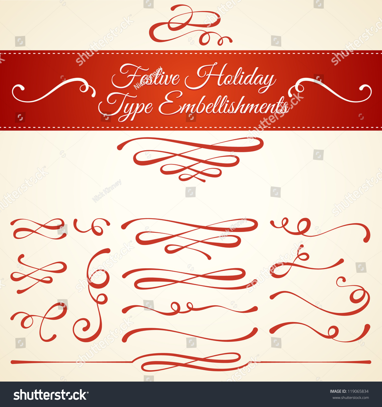 Set Elegant Type Embellishments Ornamental Typographic Stock Vector ...