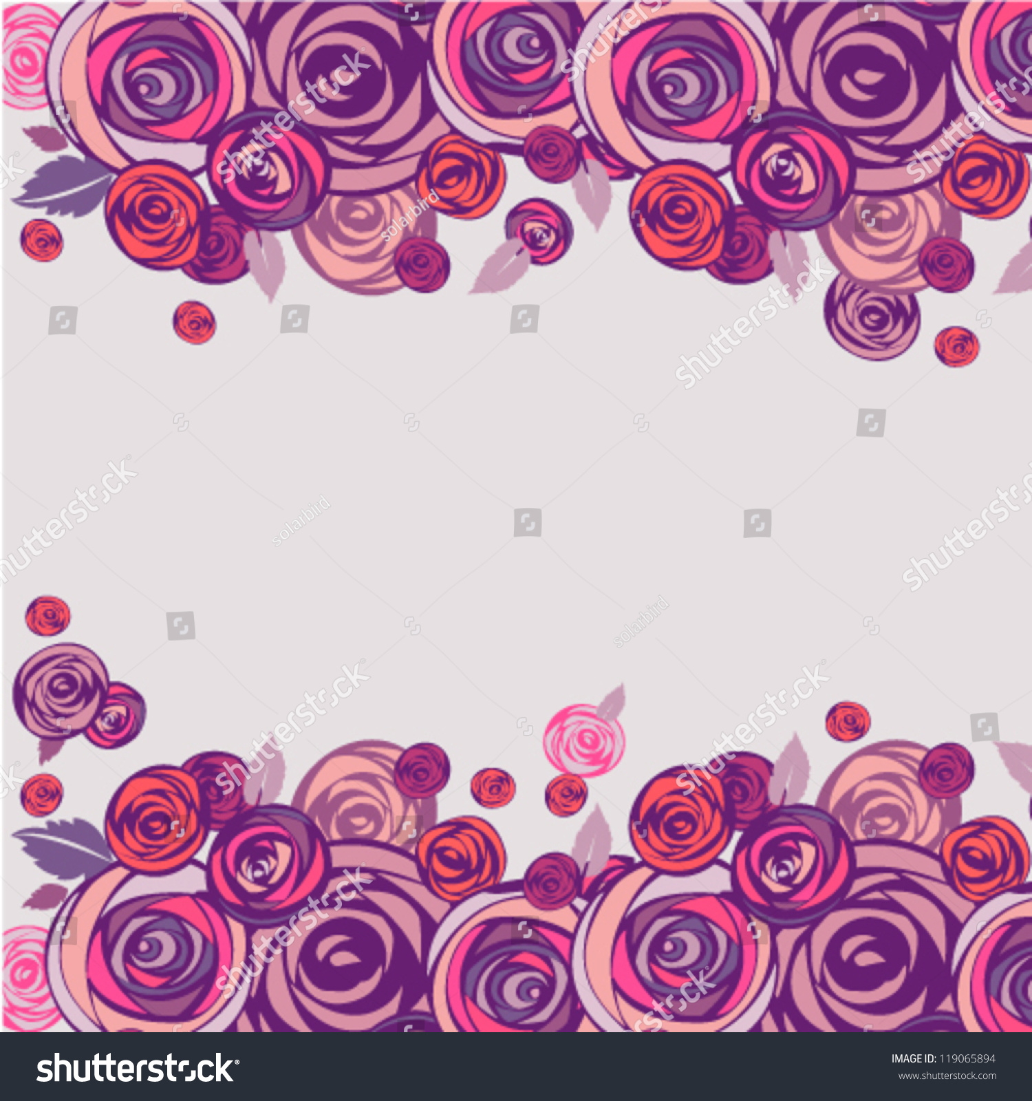 floral background pink and purple roses border vector